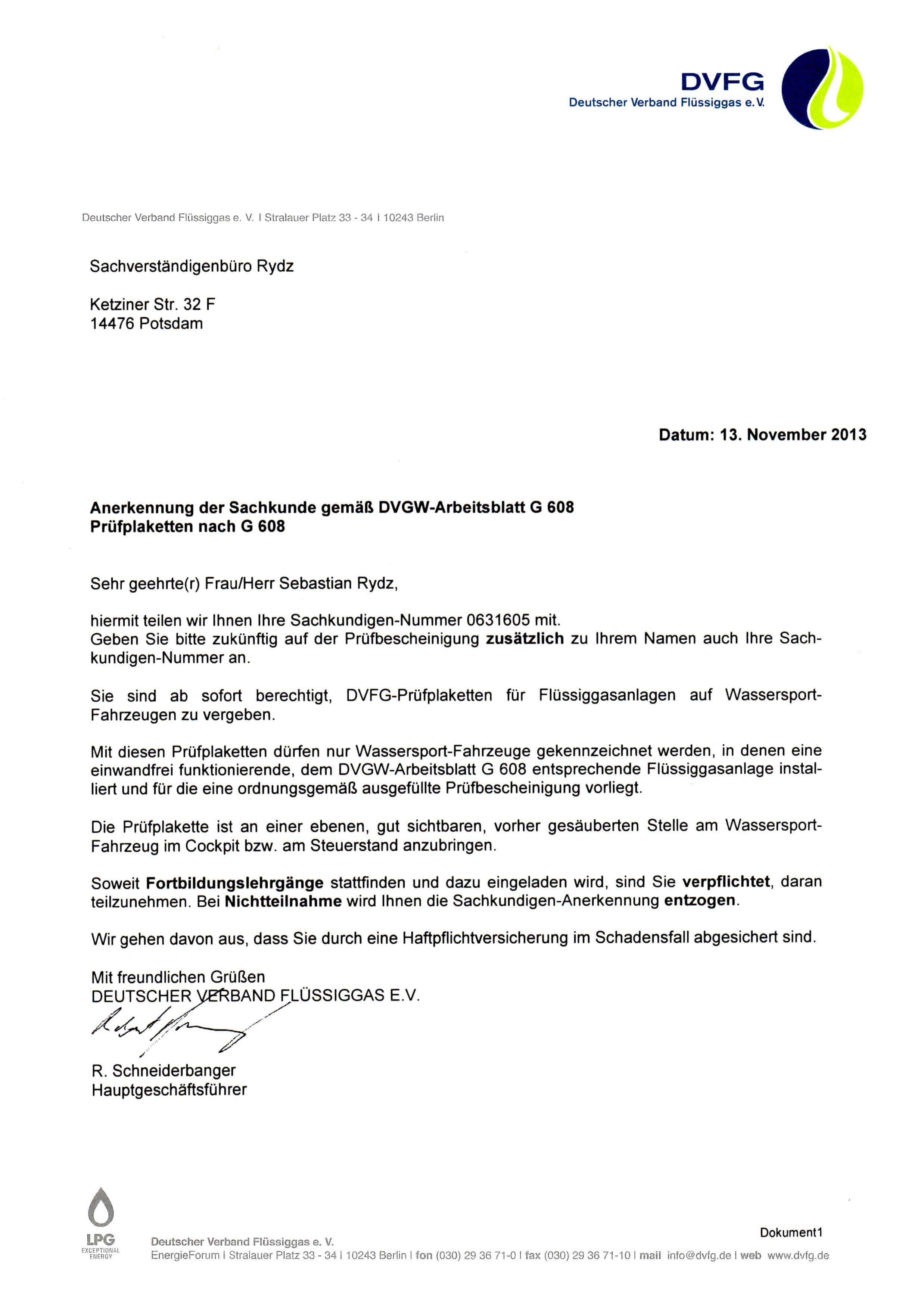 Anerkennung der Sachkunde gemäß DVGW-Arbeitsblatt G608