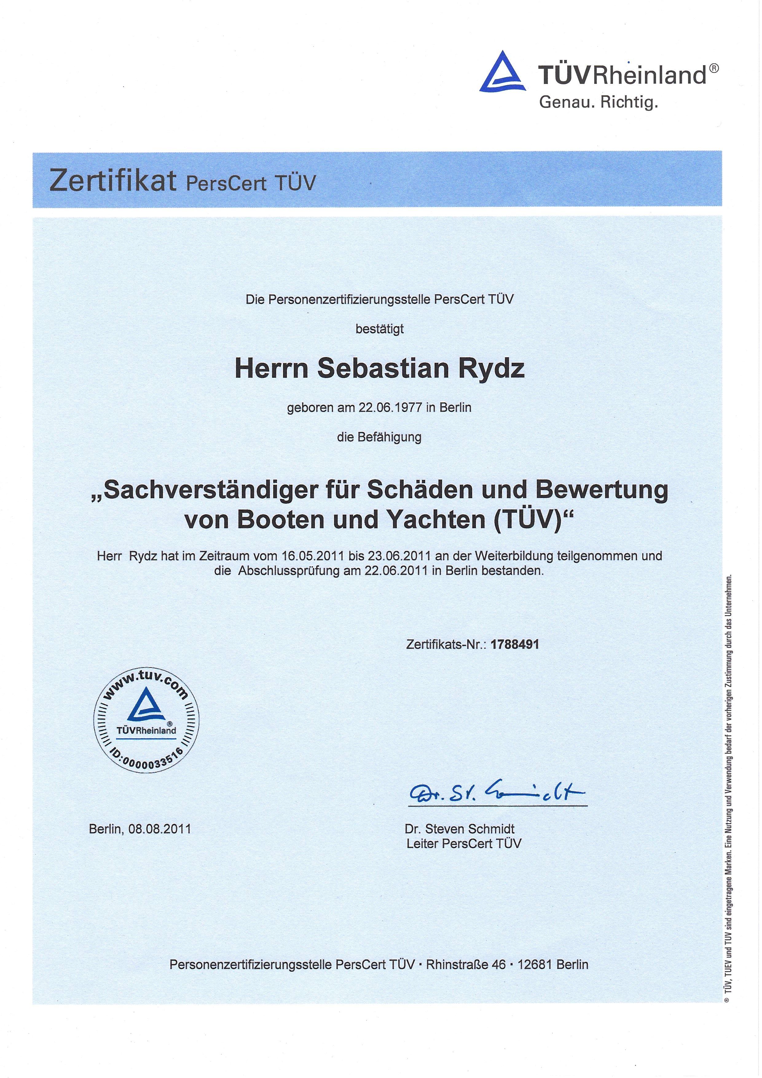 Zertifikat PersCert TÜV Rheinland, Sachverständiger für Schäden und Bewertung von Booten und Yachten
